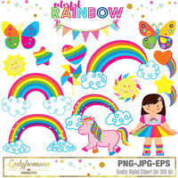 Colorful Rainbow Clipart, rainbow girl, unicorn, rainbow girl, heart, cloud, pinwheel, star, pink, vector graphic, Commercial-Personal Use