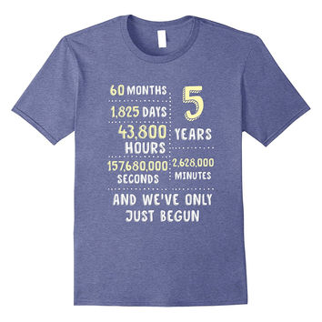 5 Year Anniversary T-Shirt / Cute Gift for Her or Him
