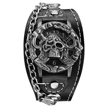 Pirates Skull Top Luxury Brand Leather Fashion Bracelet Quartz Watch Men  Wrist Watch