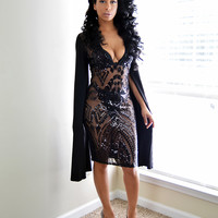 """All That Glitters..."" See-through Sequin Midi Dress"