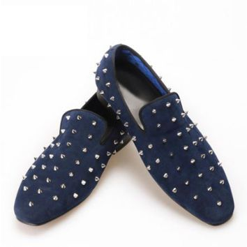 Blue Studded Velvet Loafers