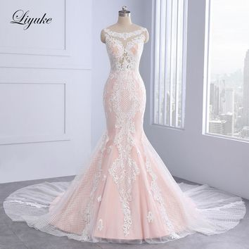 Elegant Sleeveless O-Neck Mermaid Wedding Dress Unique Appliques Lace Court Train With Button Embroidery Bridal Dresses Liyuke