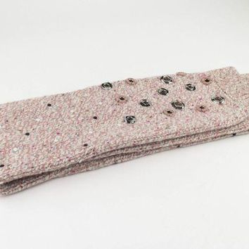 DCCKUG3 NWT CHANEL Pink 100% Cashmere Thick Knit Stole Scarf