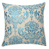 Damask 22x22 Embroidered Pillow, Turq