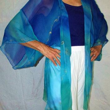silk kimono jacket, Ocean Goddess, silk jacket, kimono, silk cover up, beach wear, festival wear, goddess top