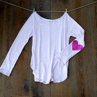Sequin Heart Elbow Patch Slouchy Pullover - French Terry Lavender T Shirt with Fuchsia Sequin Elbow Patches - Lilac