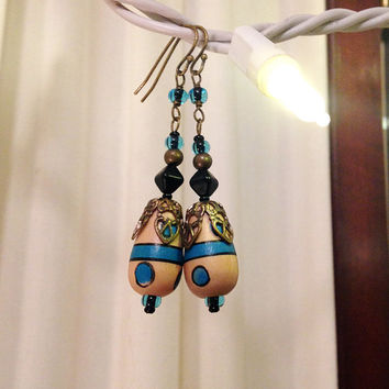 Natural Wood and Blue Dangle Earrings