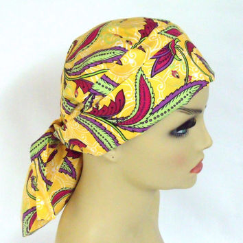 Womens Pony Pouch Surgical Scrub Cap  Calypso Leave Swirl Yellow