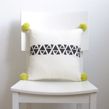 Hand Printed Geometric Pom Pom Decorative Pillow -  Black, Cream and Bright Yellow