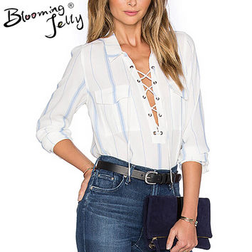 Blooming Jelly Blue Stripe White Shirt Front Lace Up Tie Up Pocket Sheer See Through Long Sleeve Blouse Fashion Sexy Shirts