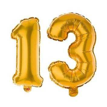 13 Non-Floating Number Balloons - 13 Inch Gold