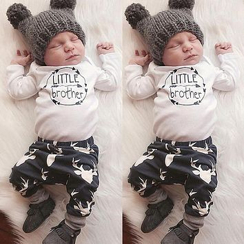 Infant Casual Clothing Set Baby Little Brother Print Tops Bodysuit+Long Pants Outfits Fashion Boys Girls Clothes