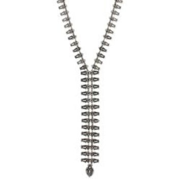 Silver Ethnic Drops Y Necklace