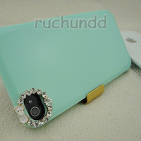 Iphone 4 Case - Iphone Crystal Cover - New Laconic Handmade Bling Bow Crystal Green Ice Cream Case Cover For Iphone 4 4S 4G