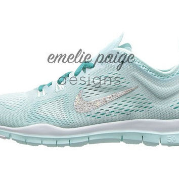 Nike Free 5.0 TR Fit 4 Breathe (Light Blue) training shoes with Swarovski Crystals