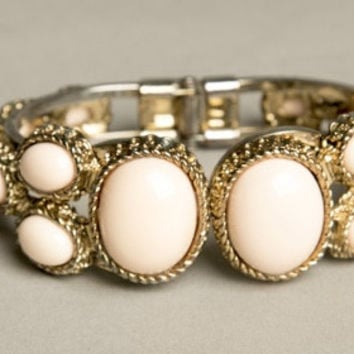 Pastel Pink Bracelet Hinged Cuff Clasp Golden Victorian Frame Stunning Vintage Costume Jewelry