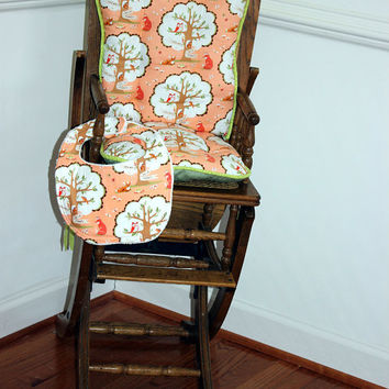 Peachy Keen Fox High Chair Cushions, High Chair Pads, High Chair Cover, Highchair Pads