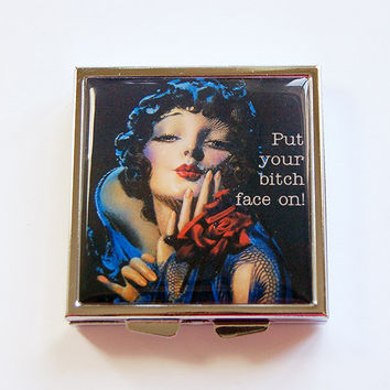 Pill Box, Funny pill box, Funny pill case, Pill Case, humor, 4 Sections, Square Pill case, sassy women, Put your bitch face on (4358)