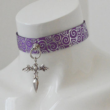 Kitten play collar - Vampire pet - bdsm proof purple gothic choker with bat wings sword pendant - petplay goth lolita cosplay gear
