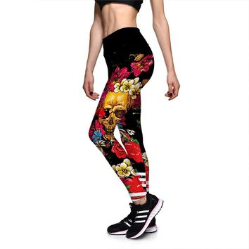 New Halloween Color Skull Sportswear 3D Floral Running Yoga Pants Dry Fit Women Fitness Leggings Drop Shipping