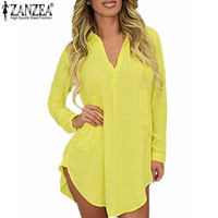 Zanzea Women Casual Loose Long Chiffon Shirts 2016 Spring Long Sleeve Lapel Sexy Blouses Tops Plus Size Mini Dress Vestidos