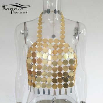 Bonnie Forest Summer Bustier Mirror Bralette Top Fashion Womens Sexy Backless Sequin Metal Top Glitter Club Vest Beach Disco Top
