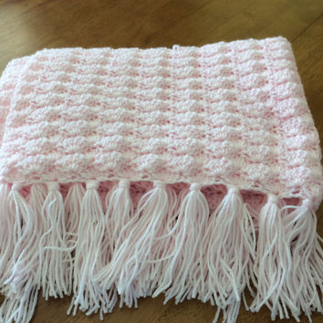 Soft Pink Shell Stitch with Fringe Crochet Baby Blanket