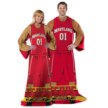 Maryland Terps NCAA Adult Uniform Comfy Throw Blanket w- Sleeves