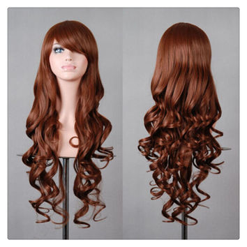 Women New Fashion Women Girl 80cm Wavy Curly Long Hair Full Cosplay Party Sexy Lolita wig  brown