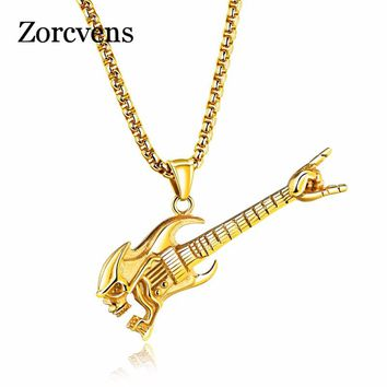 ZORCVENS New Gold and Silver Color Stainless Steel Skull Punk Vintage Guitar Pendant Necklace for Men