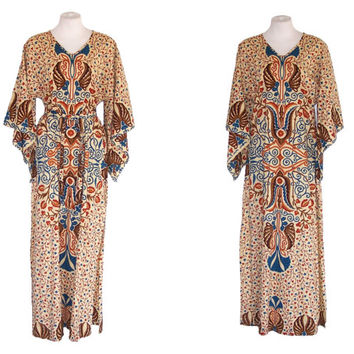 60s to 70s Dress Vintage Tribal Maxi Gown Angel Sleeves S to M Free Domestic and Discounted International Shipping
