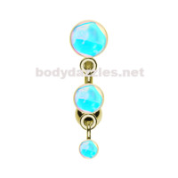 Golden Triple Revo Reverse Belly Button Ring Navel Ring 14ga Surgical Steel