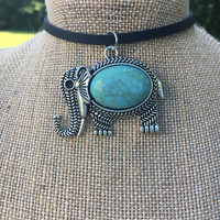 Necklace, Leather, Choker, Turquoise, Silver, Pendant, Elephant, Animal, Tibetan, Tribal, Boho, Goodluck, Native American, Gypsy, Hippie