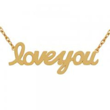 "Sterling Silver Rose Gold Plated """"Love You"""" Necklace"