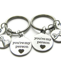 2 You're My Person Compass Hand Stamped Initial Keychains,Best Friends Keychains, Couples Keychain,BF GF Keychain, Monogram