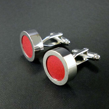 Red cotton cufflinks – second anniversary gift for him – mens 2nd anniversary present – cotton anniversary or wedding cuff links