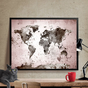 Large World Map, World Map Art Print, World Map Wall Art, World Map Poster (211)
