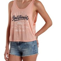 Fringe-Back California Graphic Tank Top