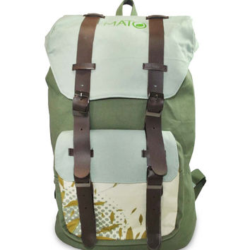 Mato Canvas Rucksack Backpack Green Floral Pattern Laptop Bag Leather Buckle