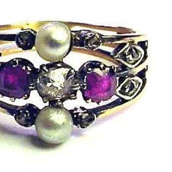 Victorian Renaissance Revival Ruby/Diamond/Pearl/14k Ring, from aestheticengineering on Ruby Lane