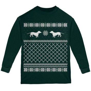 DCCKJY1 Dachshund Ugly Christmas Sweater Forest Youth Long Sleeve T-Shirt