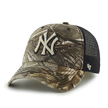 MLB New York Yankees '47 Huntsman Closer Camo Mesh Stretch Fit Hat, One Size, Realtree Camouflage