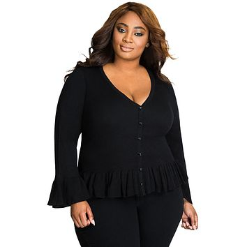 Black Ruffle Hem V Neck Plus Size Cardigan