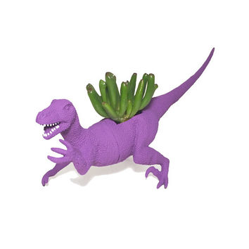 Up-cycled Dark Purple Velociraptor Dinosaur Planter