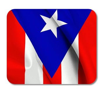 "DistinctInk Custom Foam Rubber Mouse Pad - 1/4"" Thick - Red White Blue Puerto Rico Flag"
