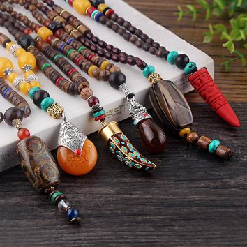 Long Wood Beads Pendant Necklace