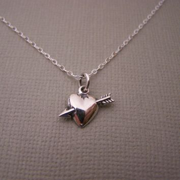 Tiny Heart Necklace - Heart and Arrow - Sterling Silver Neckalce -  Simple Jewelry Everyday Necklace / Gift for Her