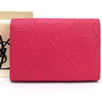 Authentic Yves Saint Laurent Bifold Wallet Pink Leather Ysl Logos Embossed