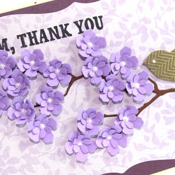 Mother's Day, Mom Thank you, Floral Card, Lavender, Handmade Card