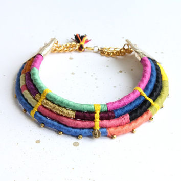 "Neon rainbow statement necklace "" Nowa"" /// Bright fiber art jewelry"